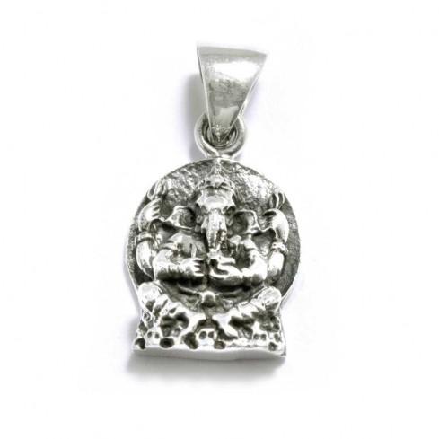 Pendentif argent vieilli ganesh sur cercle plat - Sterling Silver - Boutique Nirvana