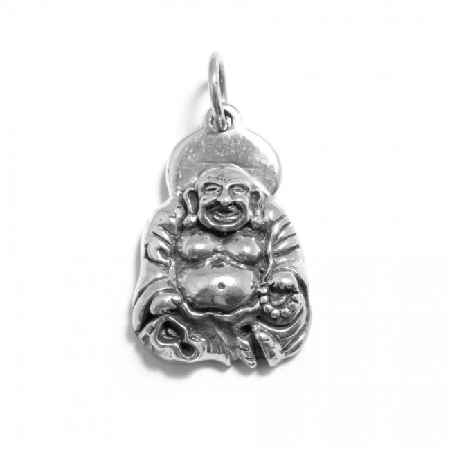Pendentif argent vieilli Happy Bouddha - Silver Jewellery  - Boutique Nirvana