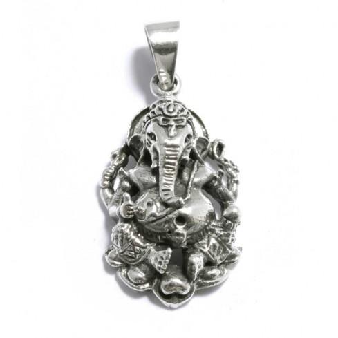 Pendentif argent vieilli Ganesh en volume - SILVER PENDANT - Boutique Nirvana