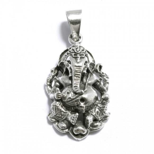 Pendentif argent vieilli Ganesh en volume