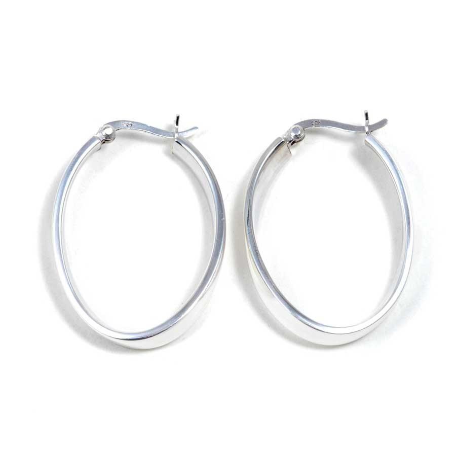 Créoles ovales en argent fermoir clic épaisseur plate - CREOLES ARGENT - Boutique Nirvana