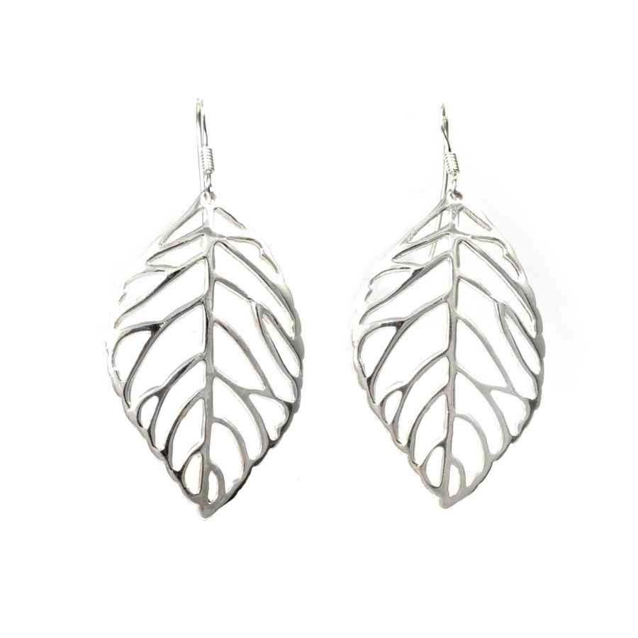 Sterling Silver Leaf Earrings - SILVER EARRINGS - Boutique Nirvana