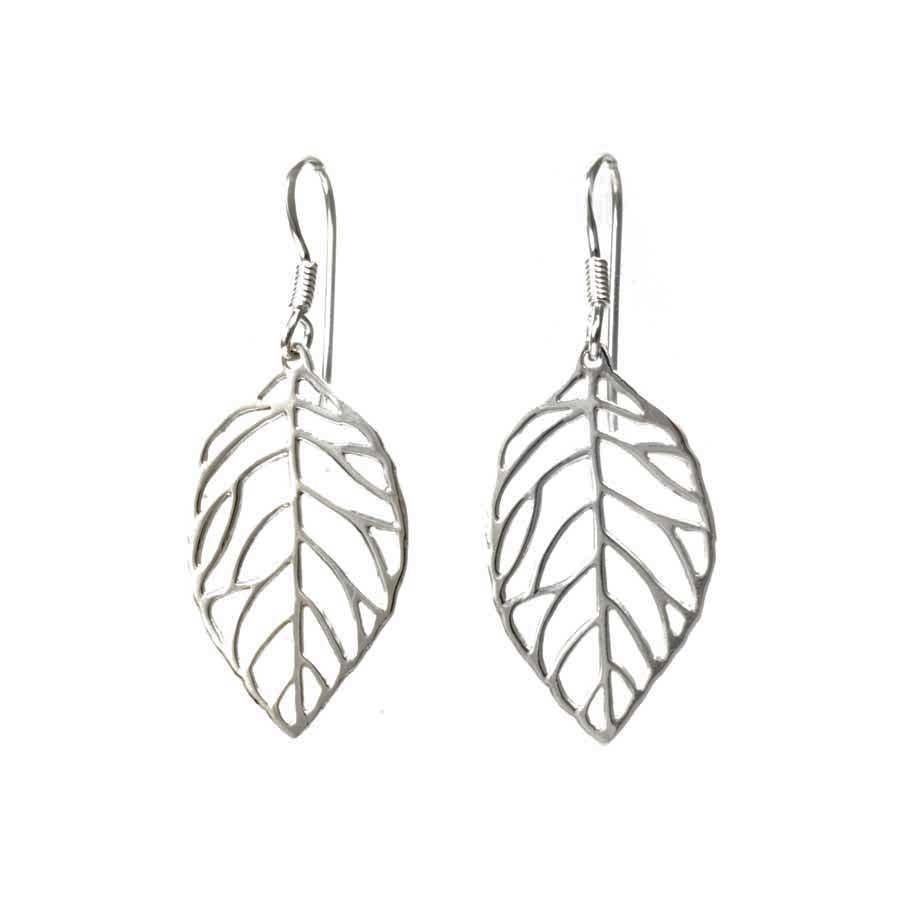 Small Silver Leaf Earrings - SILVER EARRINGS - Boutique Nirvana