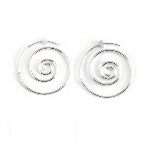 Unique Silver Spiral Hoop Earrings - Silver Jewellery  - Boutique Nirvana