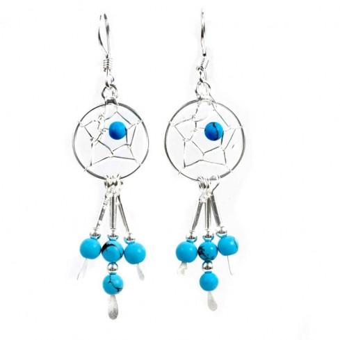 Boucles d'oreilles argent capteur de rêve et turquoise - DREAMCATCHERS - Boutique Nirvana