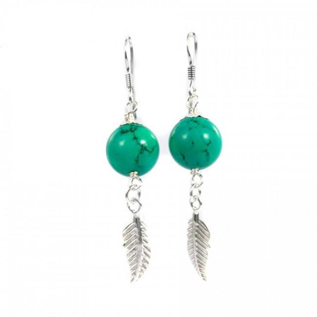 Boucles d'oreilles plume d'argent et pierre - BOUCLES ARGENT CORAIL & NACRE - Boutique Nirvana