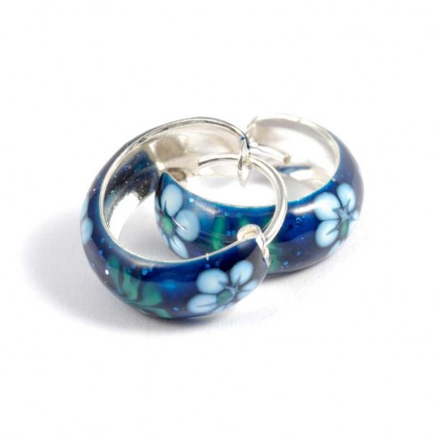 Petites créoles en argent et motifs colorés - CREOLES ARGENT - Boutique Nirvana