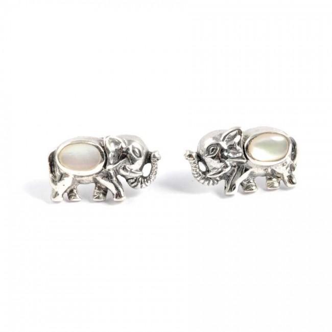 Boucles d'oreilles argent petit éléphant et pierre fine - Corail, nacre etc. - Boutique Nirvana