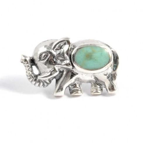 Boucles d'oreilles argent petit éléphant et pierre fine - BOUCLES ARGENT - Boutique Nirvana