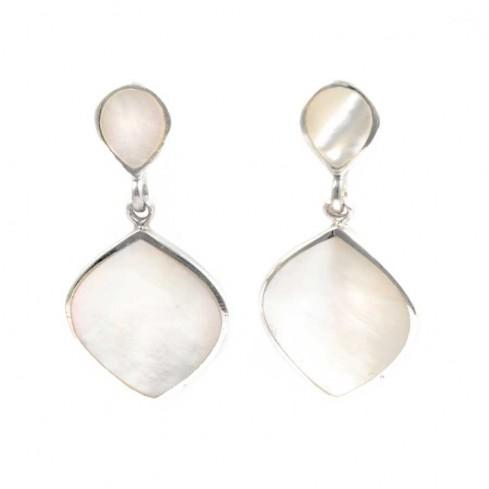 Boucles d'oreilles pendantes en argent et 2 pierres fines - BOUCLES ARGENT CORAIL & NACRE - Boutique Nirvana