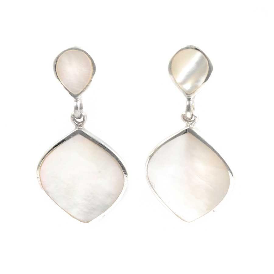 Boucles d'oreilles pendantes en argent et 2 losanges - Corail, nacre etc. - Boutique Nirvana