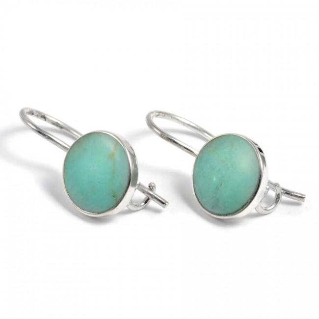 Boucles d'oreilles d'argent pierre ronde pendante - SILVER EARRINGS - Boutique Nirvana