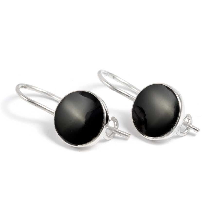 Boucles d'oreilles argent dormeuse pierre ronde pendante - BOUCLES ARGENT - Boutique Nirvana