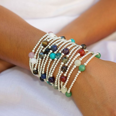 Unique Silver Beaded Gemstone Bracelet - Silver Bracelets - Boutique Nirvana
