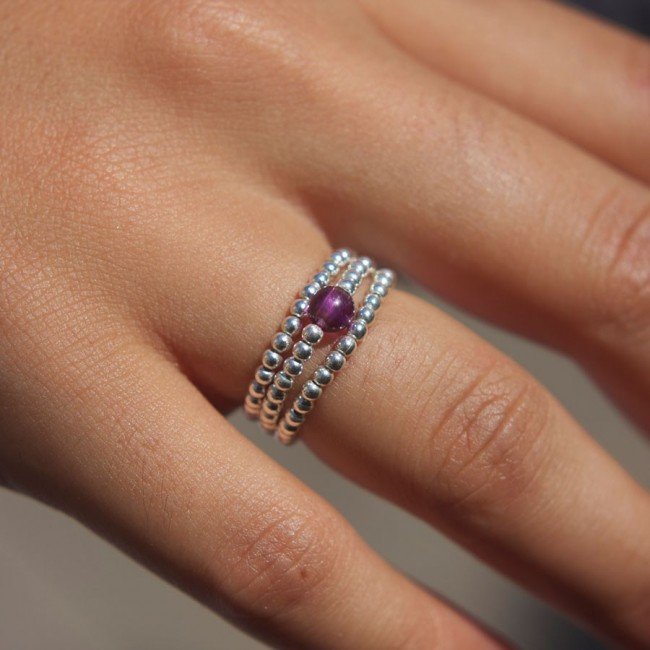Unique Silver Beaded Gemstone Ring - PIERRES FINES - Boutique Nirvana