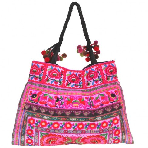 Grand sac ethnique broderies Lotus - SACS - Boutique Nirvana