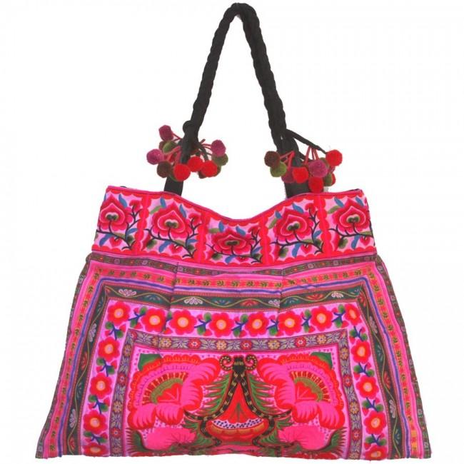 Grand sac ethnique broderies Lotus - BAGS - Boutique Nirvana