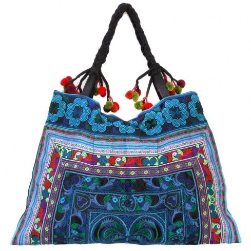 Grand sac ethnique broderies Kiski - SACS - Boutique Nirvana