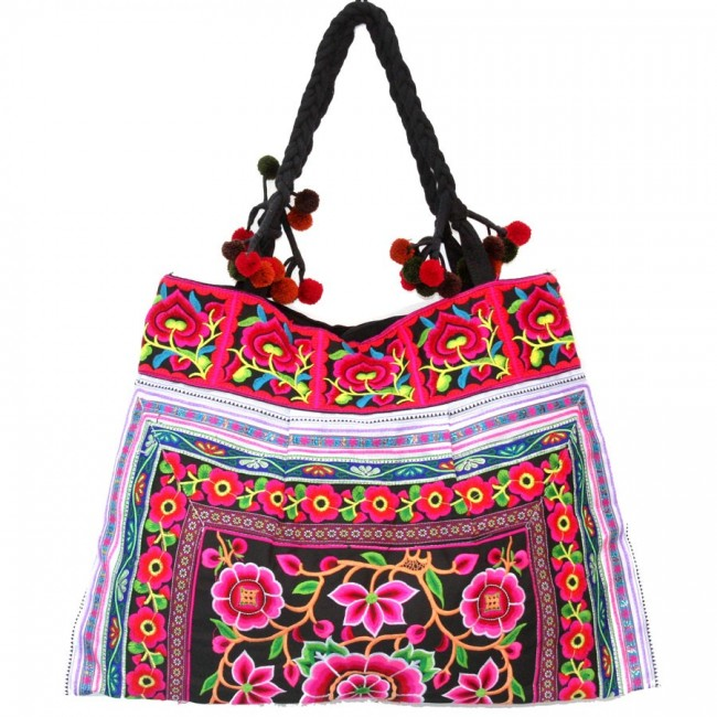 Grand sac ethnique broderies Kiona - BAGS - Boutique Nirvana