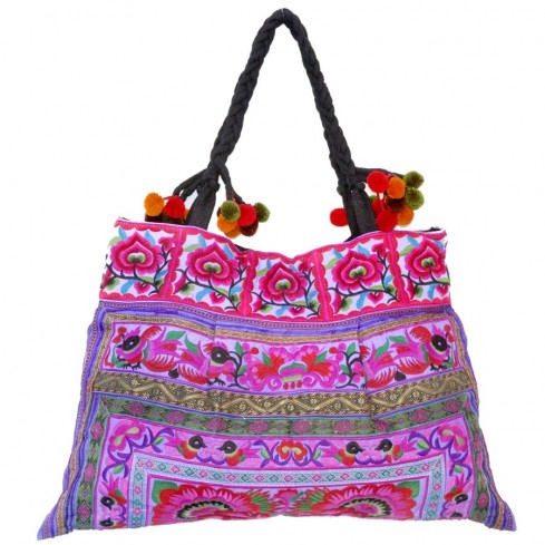 Grand sac ethnique broderies Rainbow - SACS - Boutique Nirvana