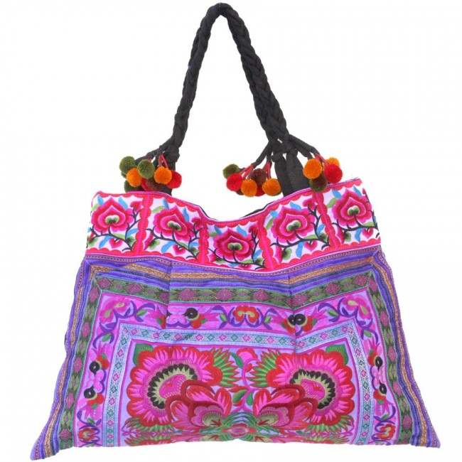 Grand sac ethnique broderies Rainbow - BAGS - Boutique Nirvana