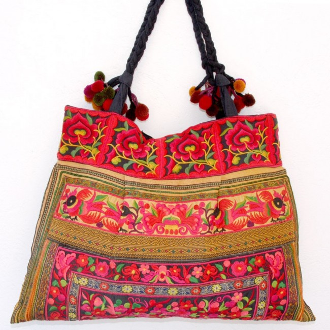 Grand sac ethnique broderies Flowers - BAGS - Boutique Nirvana