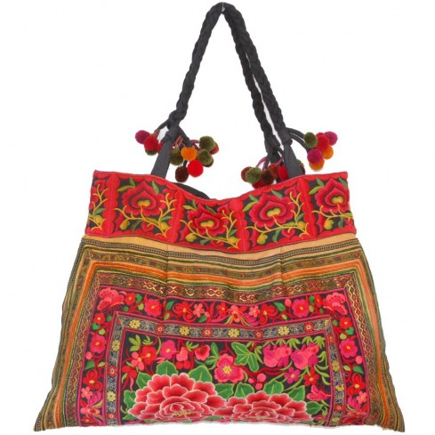 Grand sac ethnique broderies Flowers - SACS - Boutique Nirvana