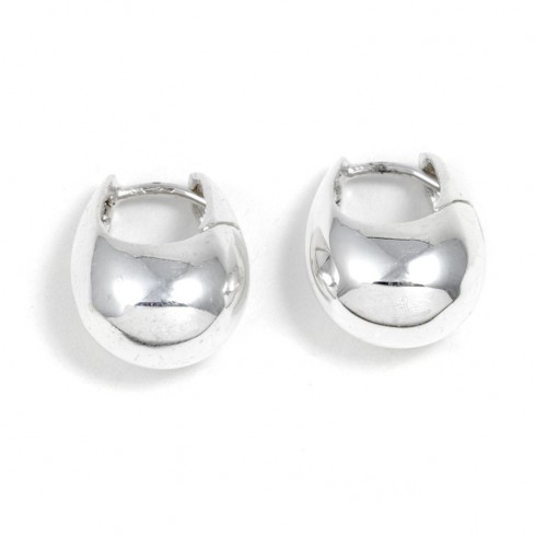 Petites créoles épaisses en argent lisse - SILVER EARRINGS - Boutique Nirvana