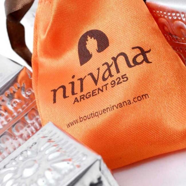 Boucles d'oreilles argent pierre cerclée - Corail, nacre etc. - Boutique Nirvana