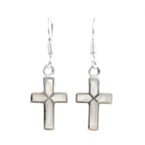 Boucles d'oreilles croix pendante incrustation pierres