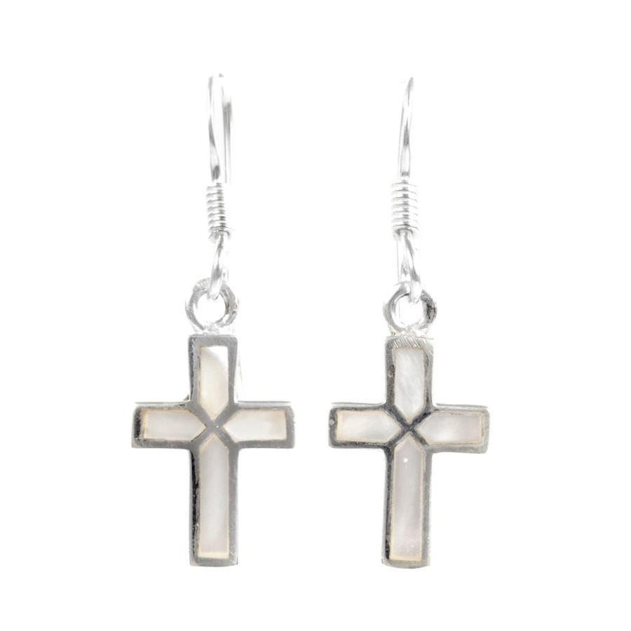 Boucles d'oreilles croix pendante incrustation pierres - BIJOUX ARGENT - Boutique Nirvana