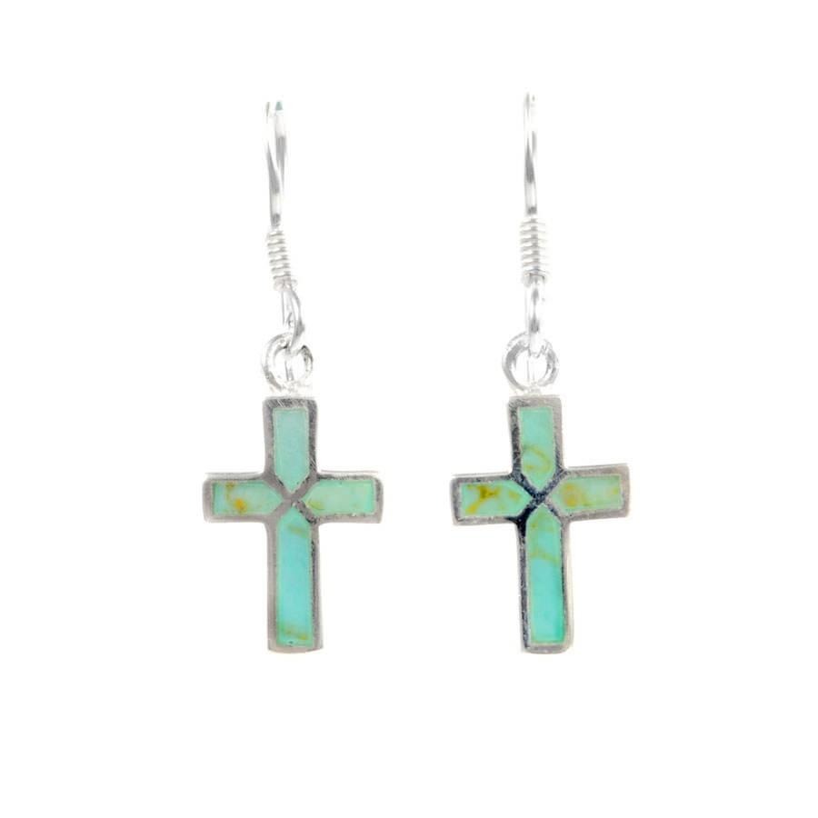 Boucles d'oreilles croix pendante incrustation pierres - Silver Jewellery  - Boutique Nirvana