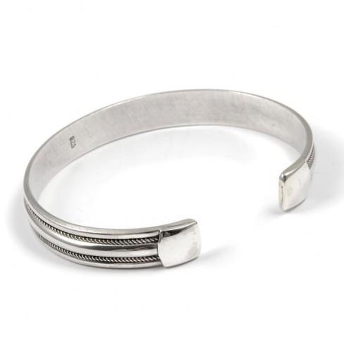 Bracelet argent rigide double bordure fine