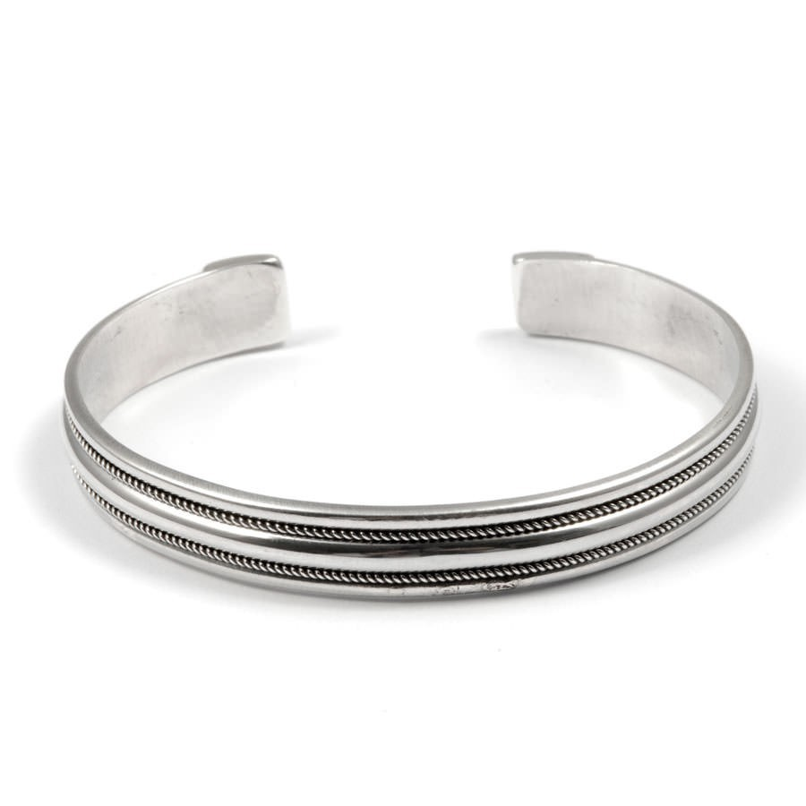 Bracelet argent rigide double bordure fine - Silver Bracelets - Boutique Nirvana