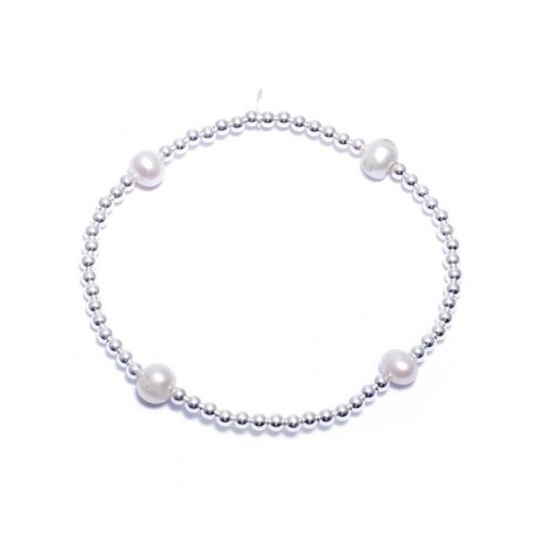 Bracelet élastique perles moyennes d'argent et perles d'eau douce - BRACELETS ARGENT - Boutique Nirvana