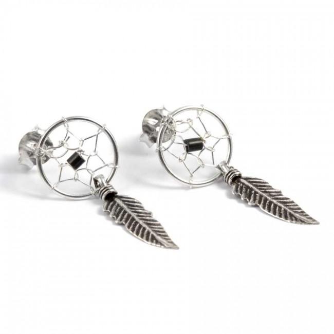 Boucles d'oreilles capteur de rêves avec fermoirs - 1 plume - CAPTEURS DE RÊVES - Boutique Nirvana