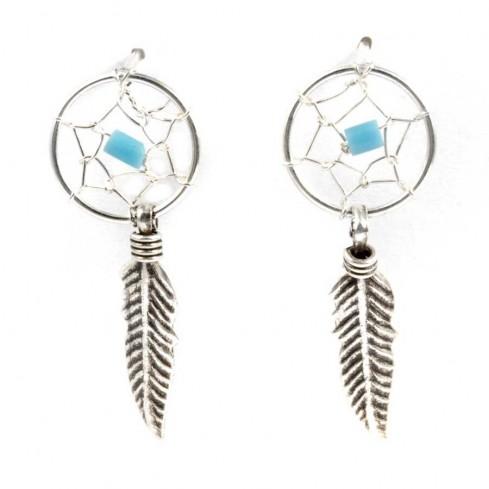 Boucles d'oreilles capteur de rêves avec fermoirs - 1 plume - DREAMCATCHERS - Boutique Nirvana