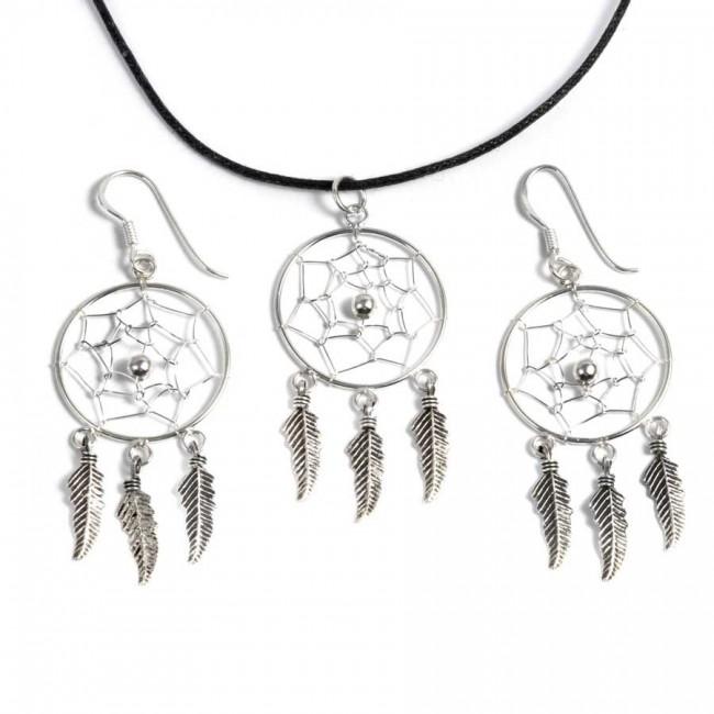 Boucles d'oreilles capteur de rêve 3 plumes - DREAMCATCHERS - Boutique Nirvana
