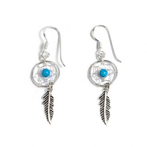 Boucles d'oreilles petits capteurs de rêves 1 plume - CAPTEURS DE RÊVES - Boutique Nirvana