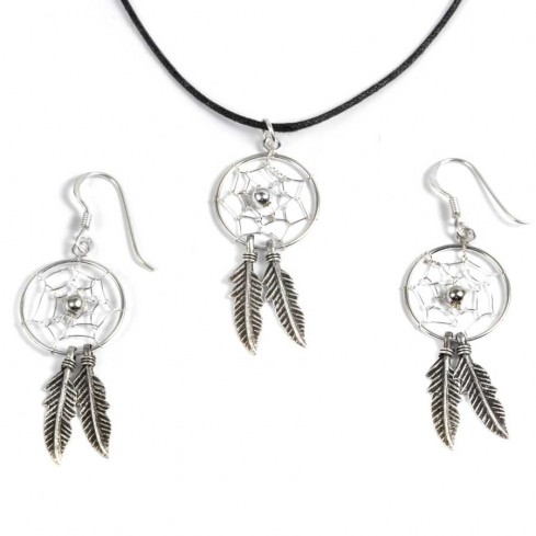 Boucles d'oreilles capteurs de rêves moyens 2 plumes - CAPTEURS DE RÊVES - Boutique Nirvana