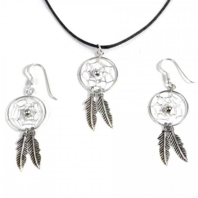 Boucles d'oreilles capteurs de rêves moyens 2 plumes - Capteur de rêves - Boutique Nirvana