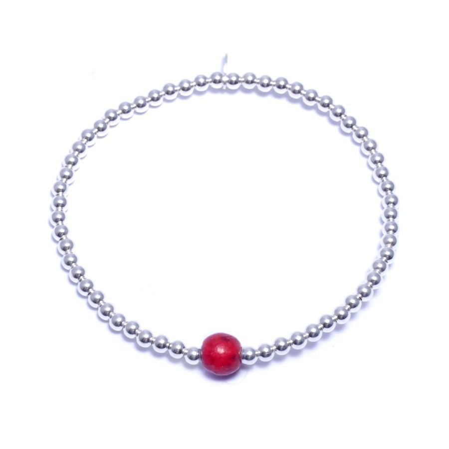 Bracelets élastiques perles d'argent moyennes et pierres naturelles - PIERRES FINES+ - Boutique Nirvana