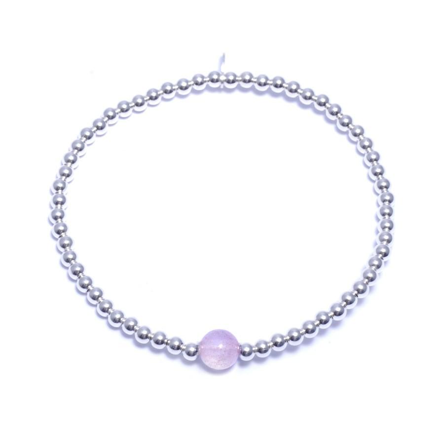 Bracelets élastiques perles d'argent moyennes et pierre naturelle - Pierres naturelles - Boutique Nirvana