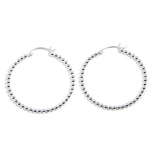 Grandes créoles perles d'argent ⌀ 4,5 cm - BIJOUX ARGENT - Boutique Nirvana