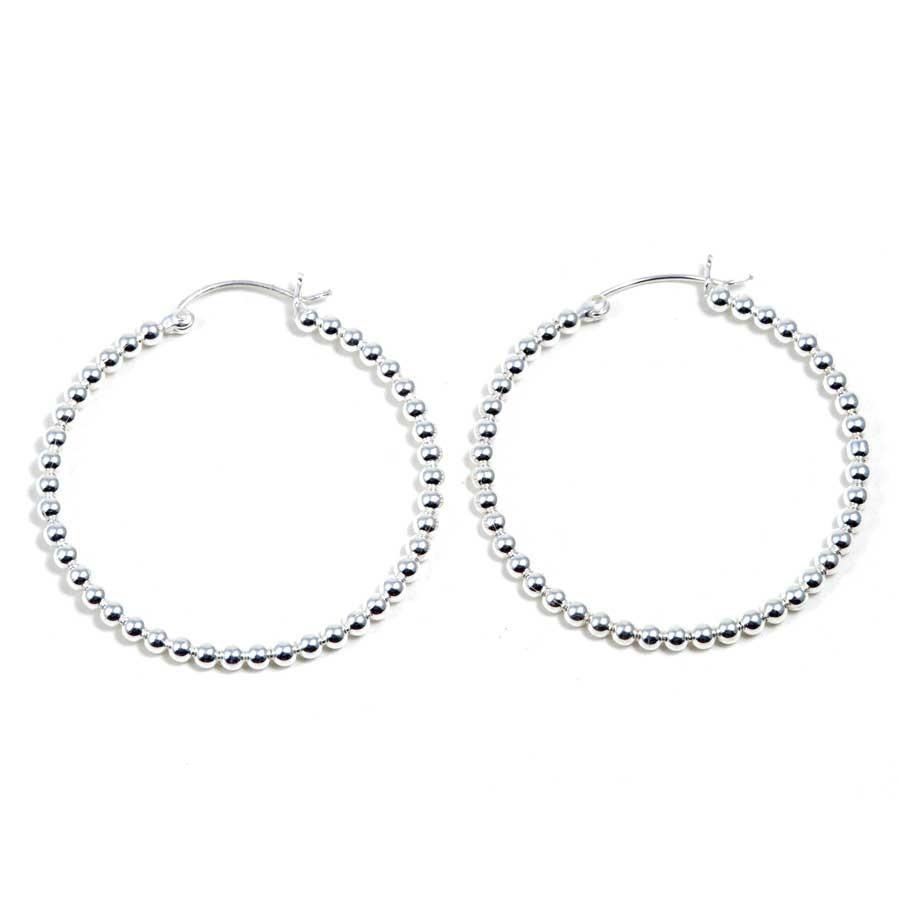 Grandes créoles perles d'argent - 4,5 cm - Silver Jewellery  - Boutique Nirvana