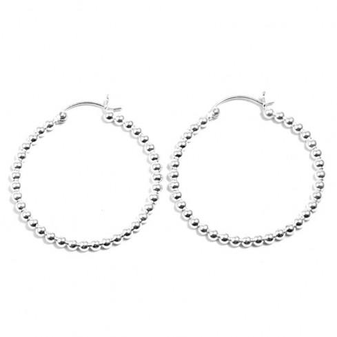 Créoles perles d'argent ⌀ 3,5 cm - BIJOUX ARGENT - Boutique Nirvana