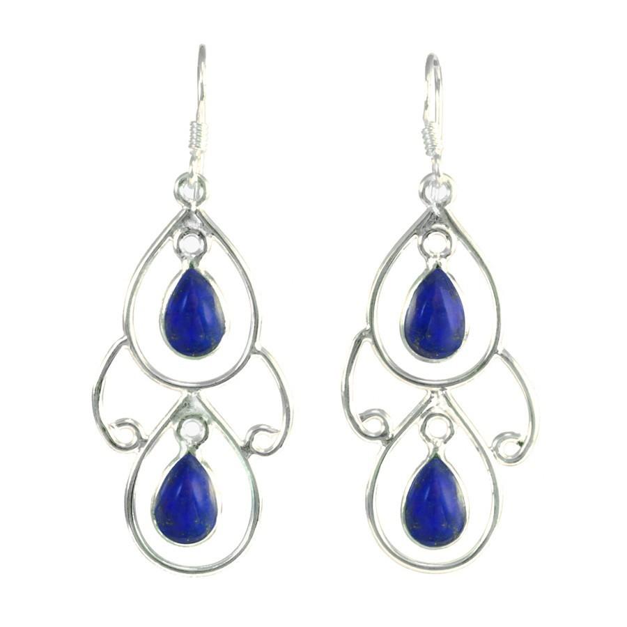 Boucles d'oreilles pendante en argent avec 2 pierres - PIERRES NATURELLES - Boutique Nirvana