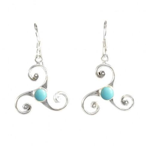 Celtic Triple Spiral Earrings with Gemstones - Mineral Gemstones - Boutique Nirvana