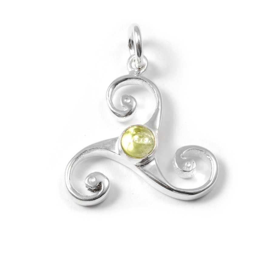 Celtic Triple Spiral Pendant with Gemstone - Mineral Gemstones - Boutique Nirvana
