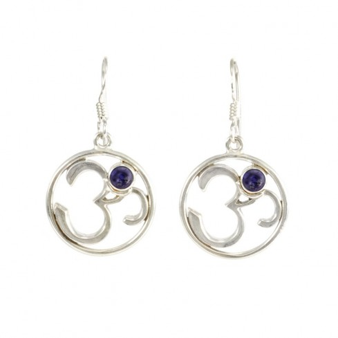 Silver Om Earrings with Natural Stone - Mineral Gemstones - Boutique Nirvana